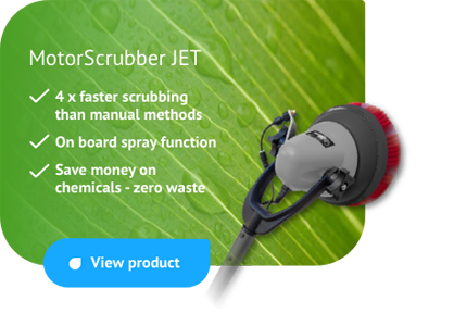 MotorScrubber JET - mini scrubbing machine with onboard spray function