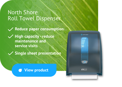 North Shore Paper Roll Towel - reduces consumption, single sheet towel system